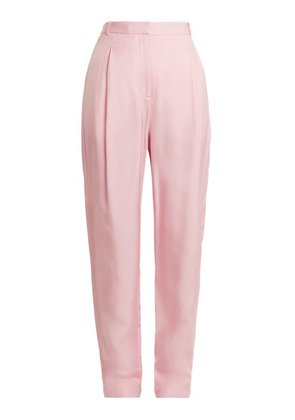 Tibi - Sculpted High Rise Pleated Faille Trousers - Womens - Light Pink