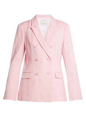 Tibi - Steward Double Breasted Faille Blazer - Womens - Light Pink
