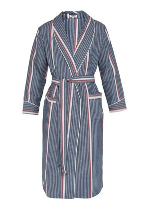 P. Le Moult - Herringbone Cotton Twill Robe - Mens - Navy