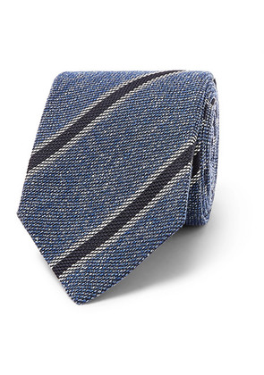 Drake's - 8cm Striped Silk, Linen And Wool-blend Tie - Blue