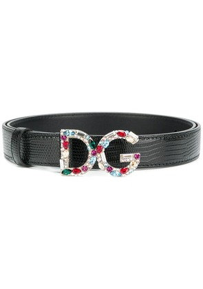 Dolce & Gabbana gemstone logo buckle belt - Black