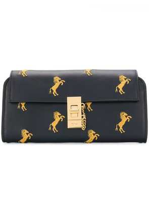 Chloé horse embroidered continental purse - Blue