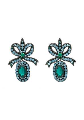 Gucci crystal embellished bow earrings - Green