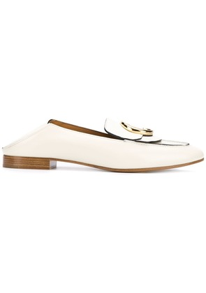 Chloé logo buckled loafers - White