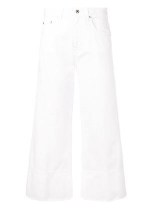 MSGM cropped wide-leg jeans - White