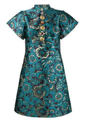 Dolce & Gabbana brocade floral print mini dress - Blue