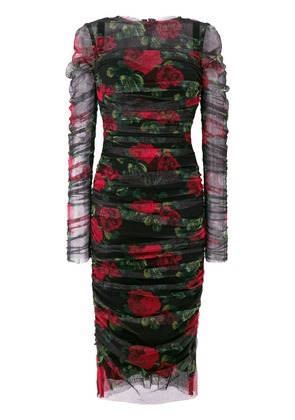 Dolce & Gabbana rose print ruched dress - Multicolour
