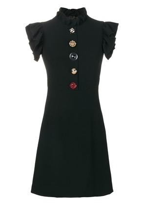 Dolce & Gabbana jewelled buttons cady dress - Black