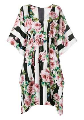 Dolce & Gabbana rose print striped dress - Multicolour