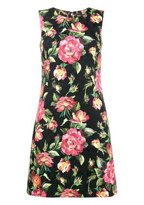 Dolce & Gabbana sleeveless floral brocade dress - Black