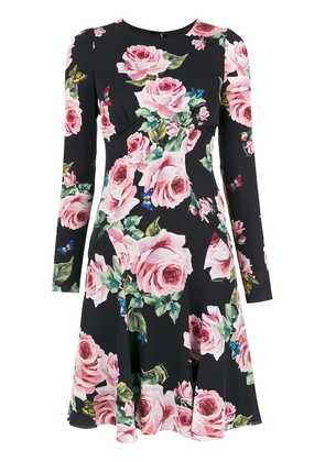Dolce & Gabbana rose print dress - Black