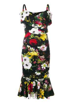 Dolce & Gabbana bouquet print midi dress - Black