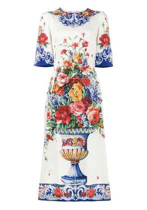 Dolce & Gabbana Majolica print midi dress - White
