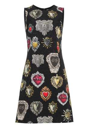 Dolce & Gabbana Heart Print A Line Dress - Black