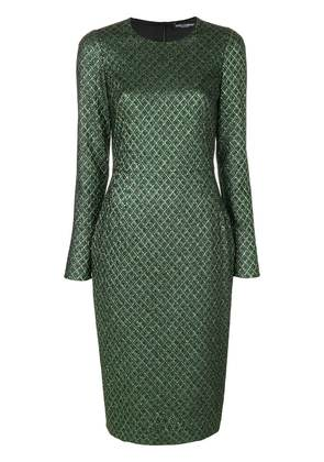 Dolce & Gabbana metallic jacquard dress - Green