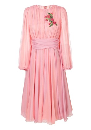 Dolce & Gabbana embroidered chiffon dress - Pink