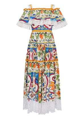 Dolce & Gabbana Majolica Print Cotton Ruffle Dress - Multicolour