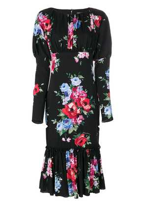Dolce & Gabbana rose print puffy sleeve dress - Black