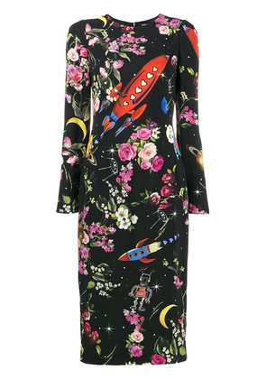 Dolce & Gabbana rocket and floral midi-dress - Black