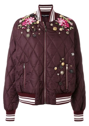 Dolce & Gabbana embroidered bomber jacket - Pink