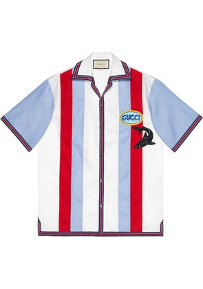 Gucci Oxford bowling shirt with patches - White