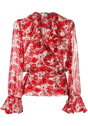 Rixo London Roisin ruffle wrap top - Red