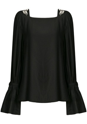 Natori floral embroidered blouse - Black