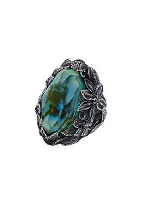 Lyly Erlandsson silver and blue resin Winter Shell ring