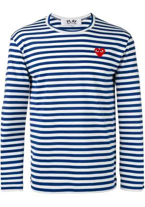 Comme Des Garçons Play striped heart embellished top - Blue