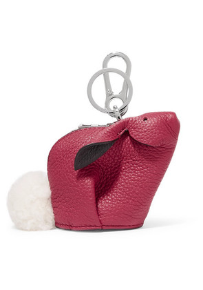 Loewe - Bunny Shearling-trimmed Textured-leather Bag Charm - Pink
