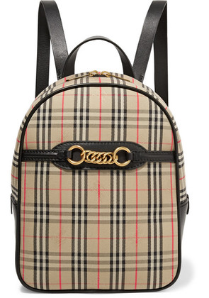 Burberry - Embellished Leather And Checked Cotton-drill Backpack - Beige