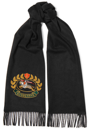 Burberry - Embroidered Cashmere Scarf - Navy