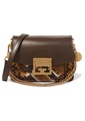 Givenchy - Gv3 Mini Textured-leather And Python Shoulder Bag - Brown