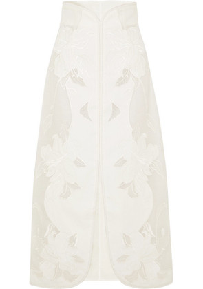 Zimmermann - Corsage Embroidered Linen And Silk-blend Canvas Skirt - Ivory