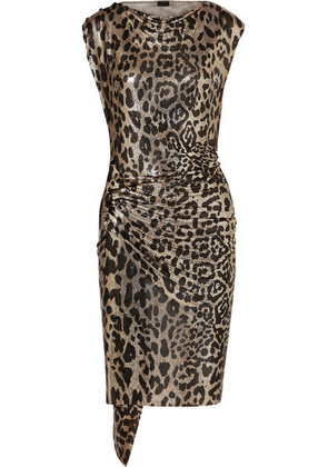 Paco Rabanne - Gathered Leopard-print Chainmail Dress - Leopard print