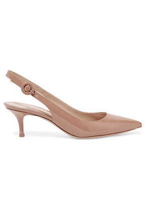 Gianvito Rossi - Anna 55 Patent-leather Slingback Pumps - Beige