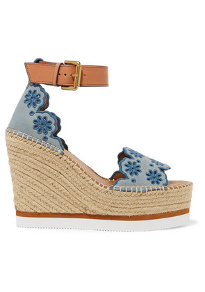 See By Chloé - Embroidered Suede And Leather Espadrille Wedge Sandals - Blue