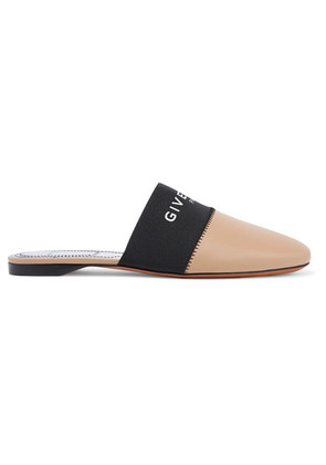 Givenchy - Bedford Logo-print Elastic And Leather Slippers - Black