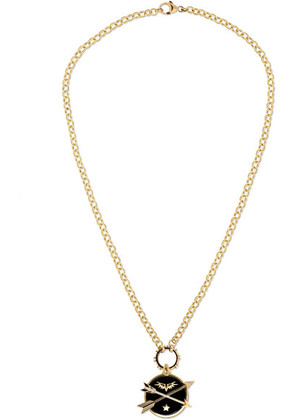 Foundrae - Crossed Arrows 18-karat Gold, Diamond And Enamel Necklace - one size