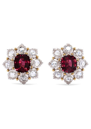 Buccellati - 18-karat White And Yellow Gold, Diamond And Ruby Earrings - one size