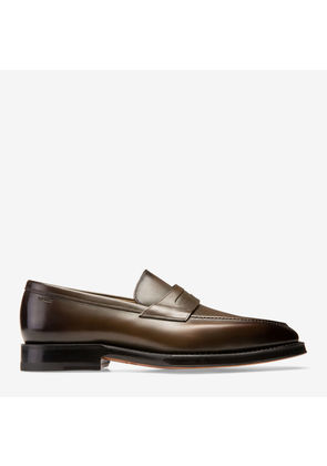 Bally Scarbono Green, Men's plain calf leather penny loafer in fango