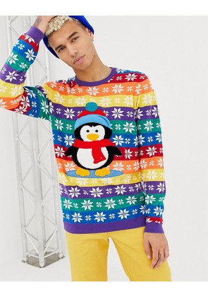 ASOS DESIGN Foundation Christmas jumper with embroidered penguin - Multi