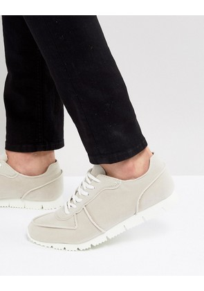 ASOS Retro Trainers In Relaxed Off White Faux Suede - White
