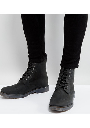 ASOS Lace Up Boots In Black Leather With Ribbed Sole - Black