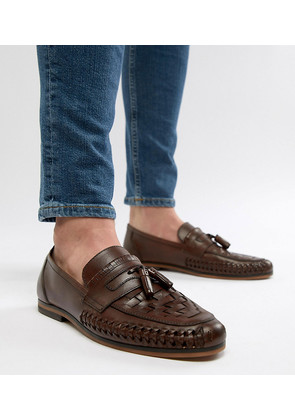 ASOS DESIGN Wide Fit Loafers In Woven Tan Leather With Tassel Detail - Tan
