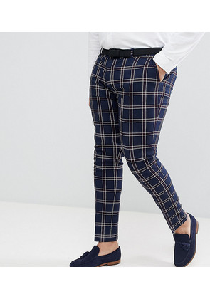 ASOS DESIGN Plus Wedding Super Skinny Suit Trousers In Navy Waffle Check - Navy