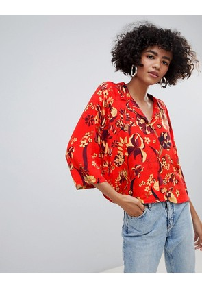 Weekday Red Print Blouse - Retro floral large