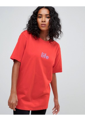 Weekday Organic Cotton statement t-shirt in red - Red