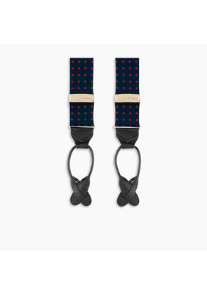 Navy and Red Spot Adjustable Silk Braces