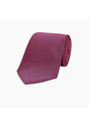 Navy and Pink Houndstooth Silk Tie